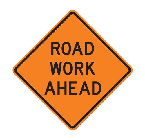 "W20-1, 36""X36""X.080 Hip Orange, Road Work Ahead Traffic Sign"