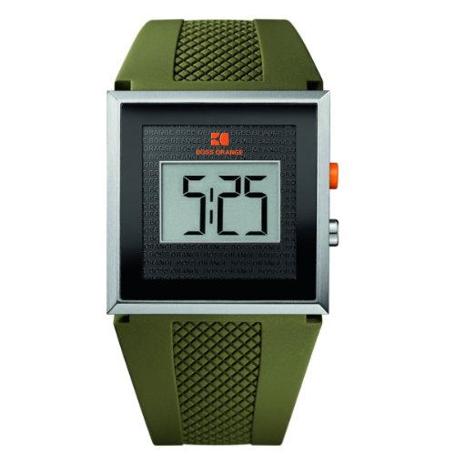 BOSS ORANGE Green Rubber LCD Mens Watch 1512700
