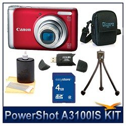 Canon PowerShot A3100 IS Digital Camera (Red), 12.1 MP, 4x Optical Zoom, 2.7