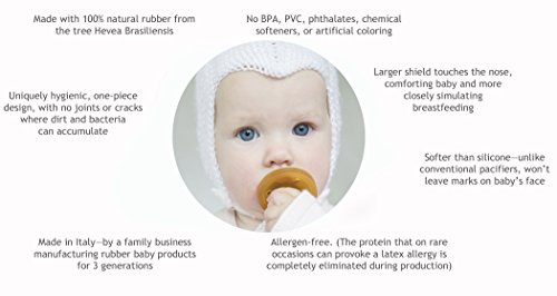 Natursutten BPA-Free Natural Rubber Pacifier, Rounded Small, 0-6 Months, 2 Pack