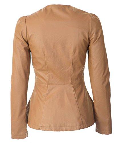 Maralyn & Me Women's Collarless Peplum Faux Leather Jacket M Brown