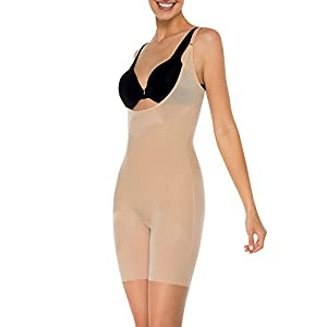 SPANX Skinny Britches Open-Bust Mid-Thigh Body, Natural, Large
