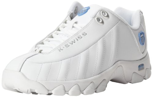 K-Swiss Women's ST329 Lace-Up Fashion Sneaker,White/Silver/Carolina,9.5 M US