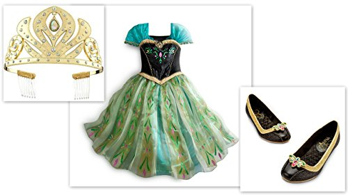 Disney Store Frozen Anna Coronation Costume Dress (7/8), Tiara & Shoes (13/1)