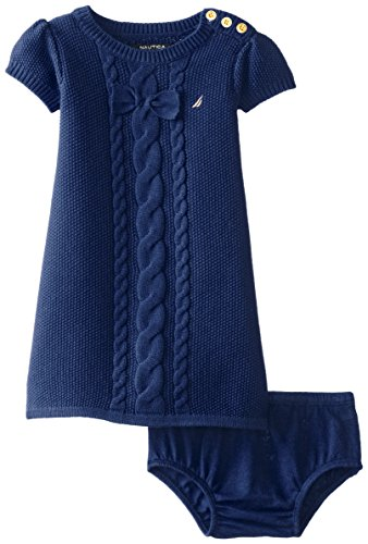 Nautica Baby Girls' Cable Bow Sweater Dress, Med Navy, 12 Months