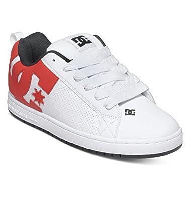 DC Men's Court Graffik Skate Shoe, White/Red/Black, 6 D US