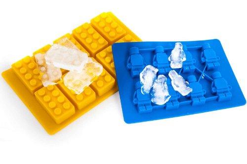 Lego Eiswürfelform Legostein Legofigur gelb oder blau Silicone Chocolate Ice Cube Tray (1x Yellow Brick 1x Blue Figure)
