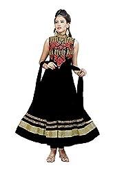 Angel Garments Black Nayloan net Anarkali Salwar Suit(Black)