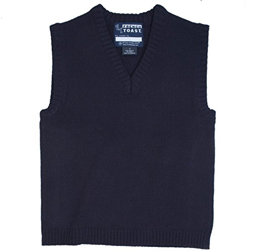 French Toast School Uniform Boys V-Neck Sweater Vest, Navy, 16 Husky