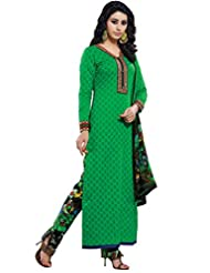 Green Colour Cotton Semi Party Wear Zari Embroidery Pant Style Suit 776