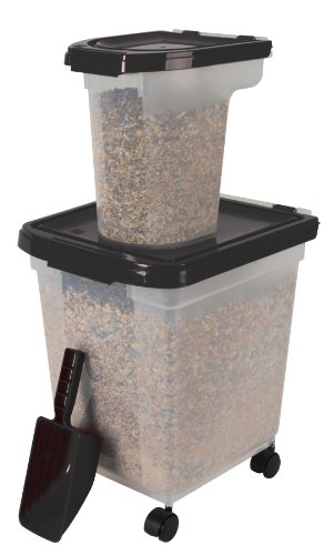 IRIS 3 Piece Airtight Bird Food Storage Combo, Black