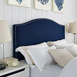 Better Homes and Gardens Grayson Linen Headboard with Nailheads, Color Blue, Size: Full/Queen