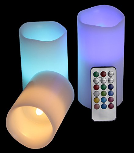 Easygoing Radiant Flameless LED Candles, Remote Controlled, Color-Changing, Scented - Long Battery Life