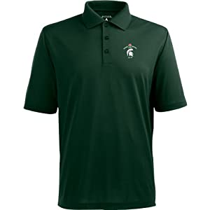 Antigua Pique Xtra Lite Mens Polo W  Rose Bowl Michigan State Spartans Logo by Antigua