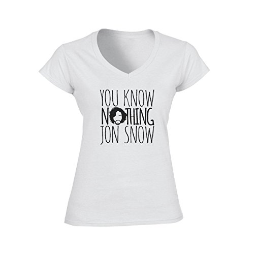 You Know Nothing Jon Snow Game Of Thrones Large Donne V-Neck T-Shirt