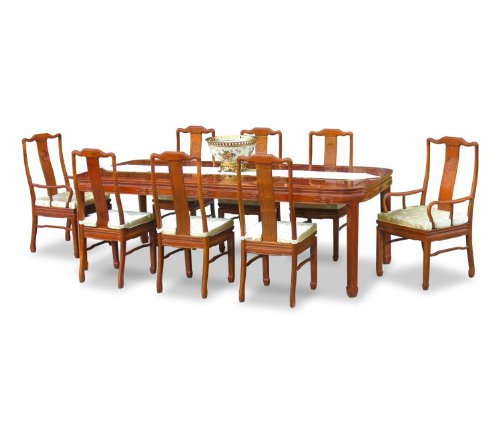 "96"" Rosewood Dining Table with 8 Chairs - Chinese Longevity Design"