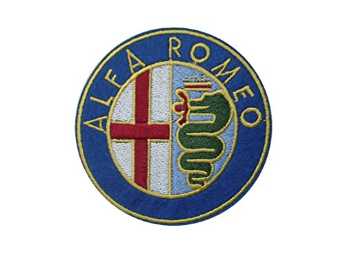 Alfa Romeo Iron On Patch * Lot Of 2 Pieces * Embroidered Grand Prix Motif Applique F1 Formula One Race Sports Car Motorsports Decal Dia. 3.2 Inches (8 Cm)