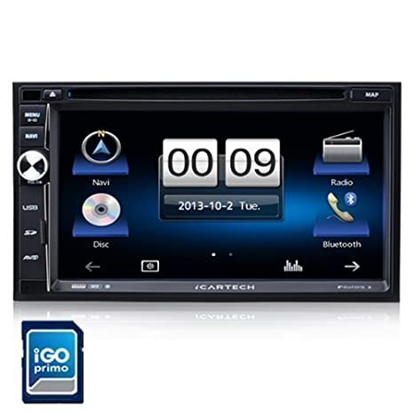 Icartech Aurora 2 Autoradio intelligent avec navigation GPS iGo Premium ultrarapide avec TMC et contournement d'embouteillage, micro externe, processeur ultra rapide 1,2 GHz Cortex A9, commande volant possible, Bluetooth, répertoire