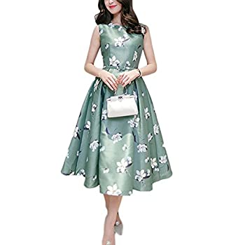 Women's Vintage Floral Fit and Flare Dress Sleeveless with Belt