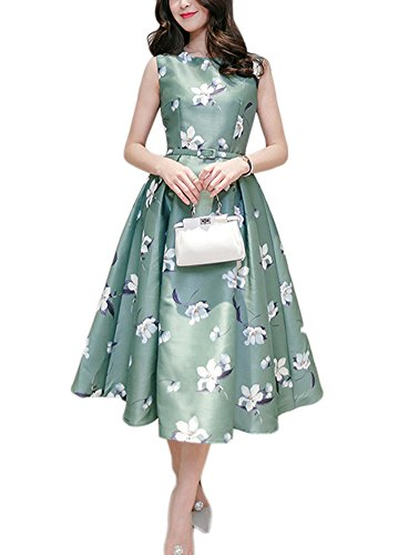 Women's Vintage Floral Fit and Flare Dress Sleeveless with Belt 0