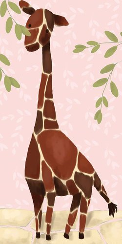 Oopsy Daisy Gillespie the Giraffe Pink Stretched Canvas Wall Art by Meghan O'Hara, 12 by 24-Inch