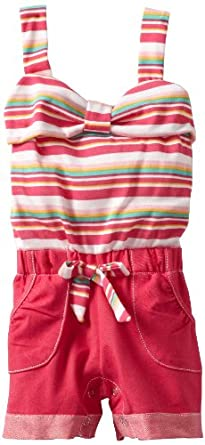 Little Lass Baby-girls Infant 1 Piece Romper With Adorable Stripes, Fuchsia, 18 Months