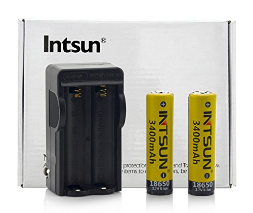 Intsun® 2Pcs 3.7V 18650 3400Mah Rechargeable Li-Ion Battery With Pcb And 18650 Battery Charger For Led Flashlight, Headlamps, Search Light Lamp, Etc