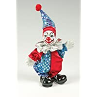 Clown Figurine - Sequins with Red and Purple, Hand-Painted, Posable, Porcelain, 7 Inch