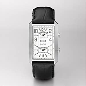 Fossil FS4577 Men's Black Leather Band White Dial Rectangular Watch