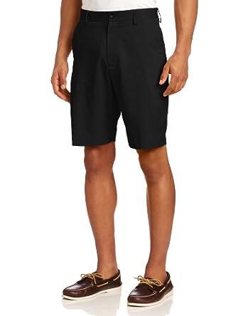 IZOD Men's Flat Front Microfiber Short, Black, 30
