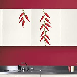 Red Peppers (Water Resistant Decal) Wall Decal , 9x14