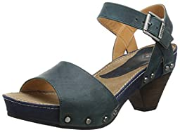 John Fluevog Women\'s Gardiner Dress Sandal, Green/Navy, 6.5 M US