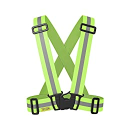 Reflective Vest - High Visibility for Running, Cycling, Walking. Easily adjustable, lightweight, elastic Reflective Belt Vest/Reflective Running Vest/Cycling Vest/Safety Vest. YELLOW L/XL