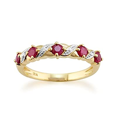 Yellow 9ct Gold 0.50ct Ruby & Diamond Half Eternity Style Ring