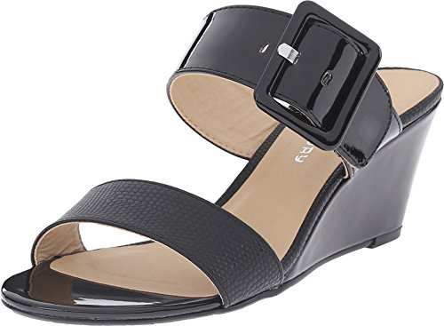CL By Laundry Women's Tonya Black Lizard Sandal 8.5 M