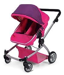 Deluxe Twin Doll Pram/Stroller -Pink