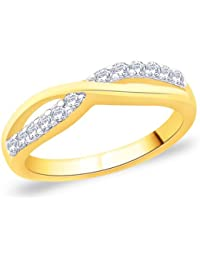 Valentine Gift : Peora 925 Silver 18 Karat Gold Plated Ring Made With SWAROVSKI ZIRCONIA PGR2699