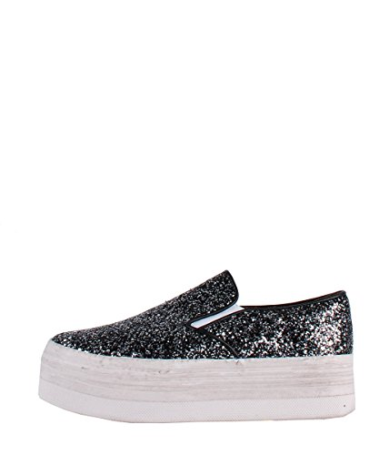 Jeffrey Campbell Slip On Zomg Glitter Black White Sneakers - Scarpe Glitter