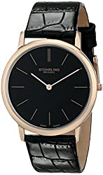 Stuhrling Original Men's 601.3345K1 Classic Ascot Swiss Quartz Ultra Thin Rose Tone Black Leather Strap Watch