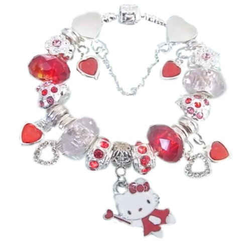 childrens red & silver sparkling Hello Kitty Charm Bracelet age 8 to teens