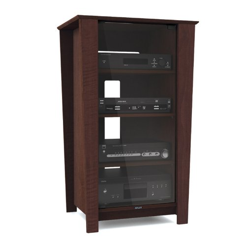 Sonax TR-7288 Ebony Pecan Three Shelf Component Stand With Glass Door