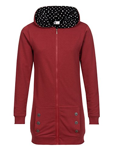 Pussy Deluxe Red Longsweater Coat With White Dotties Lining Felpa jogging donna rosso XL