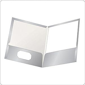 Oxford Showfolio Laminated Twin Pocket Folders, Letter Size, Gray, 25 per Box (51705)