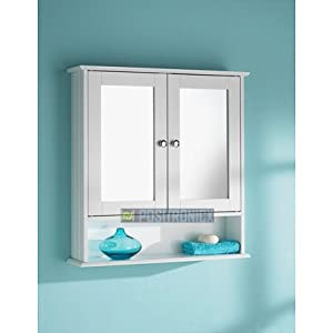 White two door bathroom wall cabinet with shelf mirror for Bathroom cabinets uk only