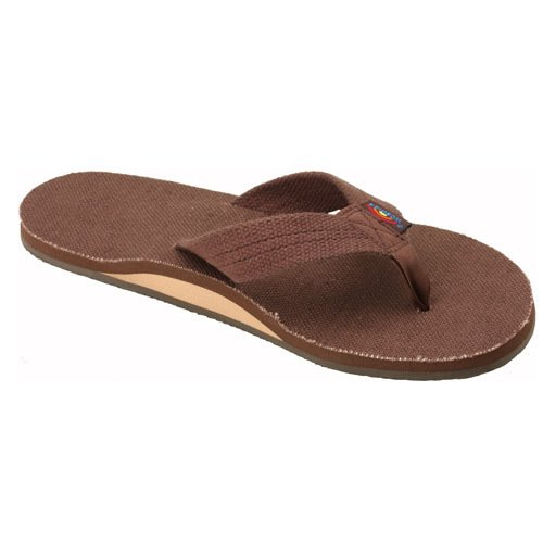 Rainbow Sandals Women'S Hemp Single Layer Wide Strap Brown Small (5.5-6.5) front-878199