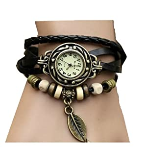 WAWO Quartz Fashion Weave Wrap Around Leather Bracelet Lady Woman Wrist Watch (Black leaf)