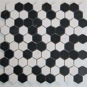 black and white marble hexagon tile