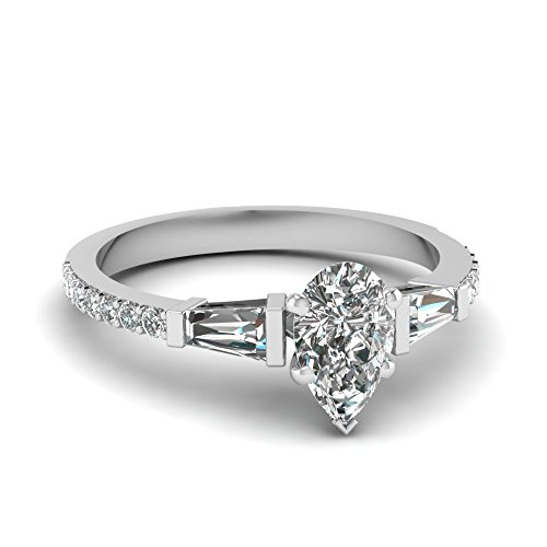 Fascinating Diamonds 1.20 Ct Pear Shaped & Baguette Diamond Engagement Ring Si2-D Color 14K Gia