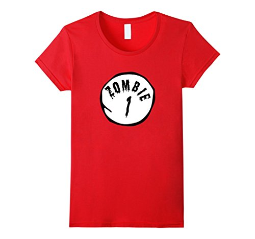 Women's Zombie One Zombie Two T-Shirt Funny Party Halloween Shirt Medium Red (Thing 1 And Thing 2 Costume Ideas)