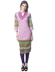 Saving Tree Long Kurta With Beautiful Border And Contrast Yoke. - B00OIVQPN8